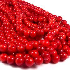 echte rote Koralle ca. 52 Perlen Ø ca. 8 mm Perlenstrang ca. 40 cm zum Basteln