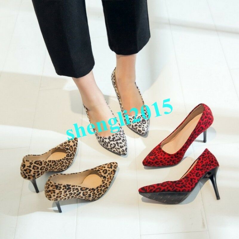 femmes Sexy Leopard Print Stilettos Court Party chaussures High Heel Pointy Toe Pumps