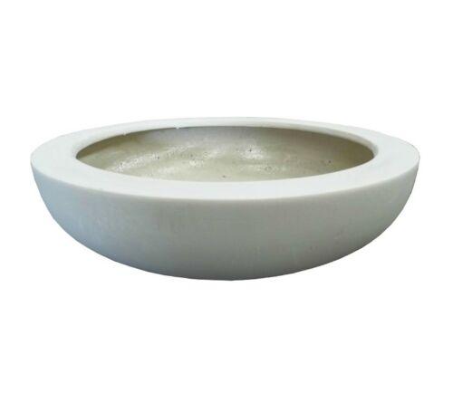 44cm White Polystone Dish Garden Planter//Plant Pot//Bowl//Plate//Feature