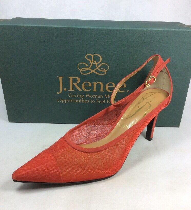 J.Renee toe Jena women shoes mesh/suede ankle strap red pointy toe J.Renee elegant Sz. 9 N 0003df