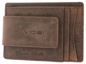Viosi Leather Magnetic Front Pocket Money Clip Wallet