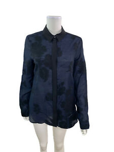 Burberry-London-Women-s-Size-10-Long-Sleeve-Blue-Black-Floral-Button-Down-Shirt