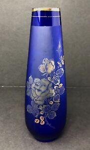 Vintage Lefton Cobalt Blue Hand Blown Satin Glass Works Bud Vase w/ Gold Roses