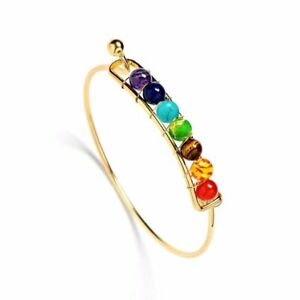 Genuine Bracelet Natural Gemstone 7 Chakra Beads Bangle Healing Reiki Woman Man