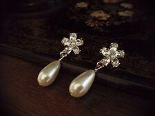 Vintage Pearl & Crystal Flower Drop Pierced Earrings