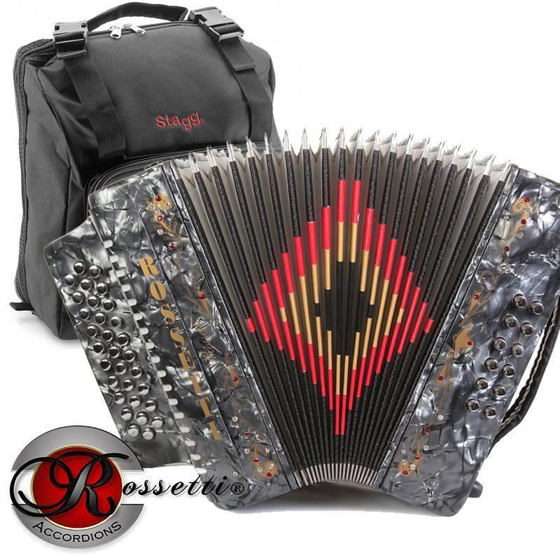Rossetti 3112 GCF Sol 31 Button 12 Bass Diatonic Accordion grau + Padded Gig Bag