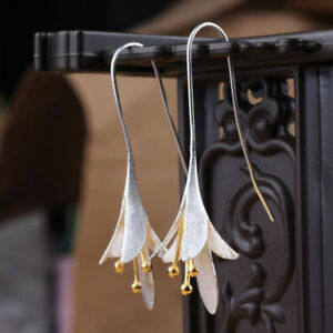925-Silver-Elegant-Plated-Long-Flower-Jewelry-Earrings-Handmade-Drop-Earrings-TR