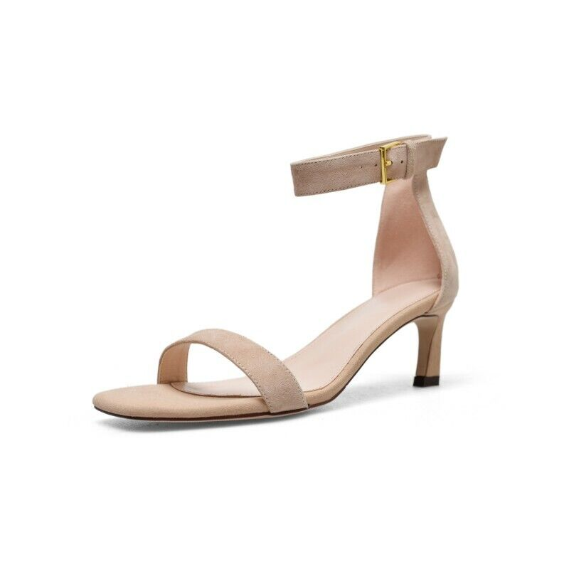 Women Peep Toe Ankle Strap shoes Block Med Heel Platform Buckle Sandals 34-40