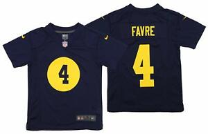 official photos a7036 ae3a5 Details about Nike NFL Youth Green Bay Packers Brett Favre #4 Retro Jersey,  Navy