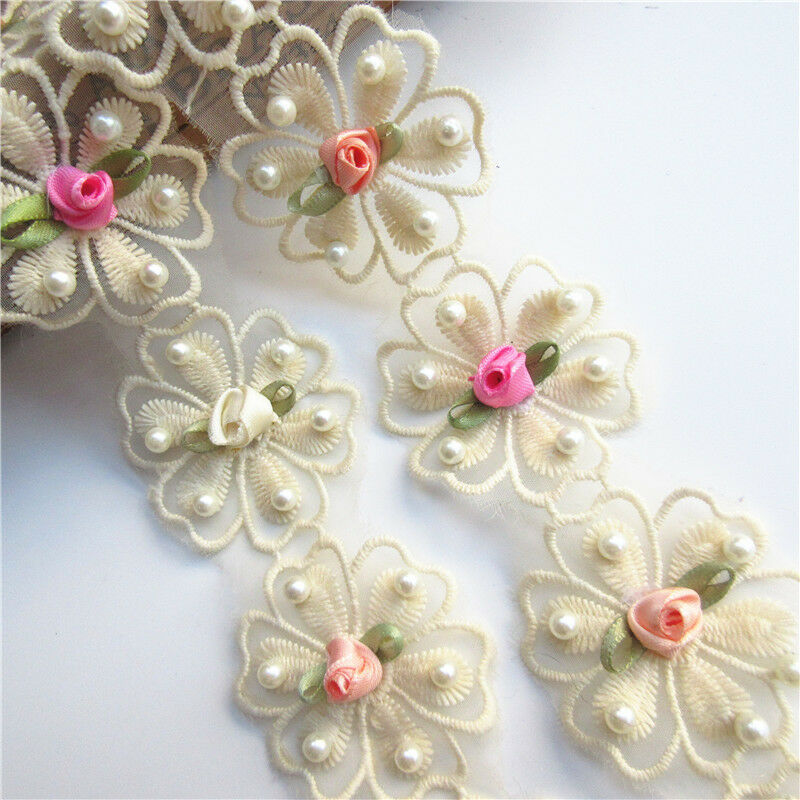10pcs Apricot Flower Pearl Lace Trim Wedding Ribbon Embroidered Applique Sewing
