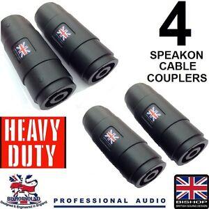 Speakon-Connettore-a-Spina-Cavo-Accoppiatore-Joiner-compatibile-NL4MMX-pacco-da-4