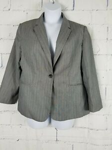 Details about Belk\'s Kim Rogers Blazer Career Jacket plus size 16 Gray  stripe Lined 1-button