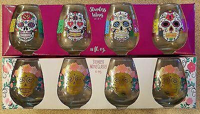 *NEW Set of 4  Sugar Skull  //Day of the Dead stemless wine glasses WHITE