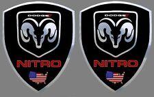 2 adhésifs stickers noir & chrome DODGE NITRO (à coller sur ailes avant)