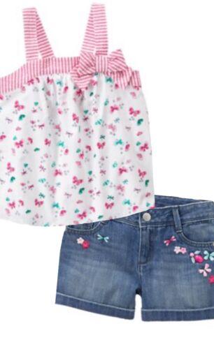 Gymboree Island Hopper 4 8 Pink Striped Butterfly Top /& Denim Shorts Set 16