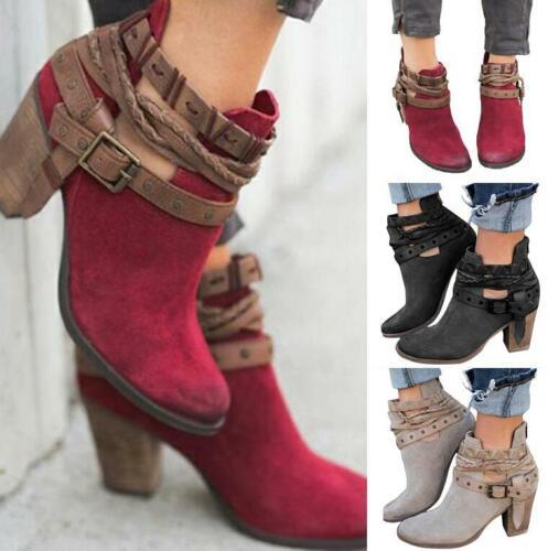 Vintage Women Short Gothic Boots Block Heels Rivet Buckle Biker Punk Ankle Boots