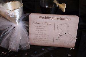 Personnalise-Mariage-Invitations-invite-Carte-Postale-Rustique-Vintage-a-l-039-etranger