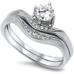 Cubic Zirconia Wedding Sets | 1 2ct Round Cubic Zirconia Wedding Set 925 Sterling Silver Ring