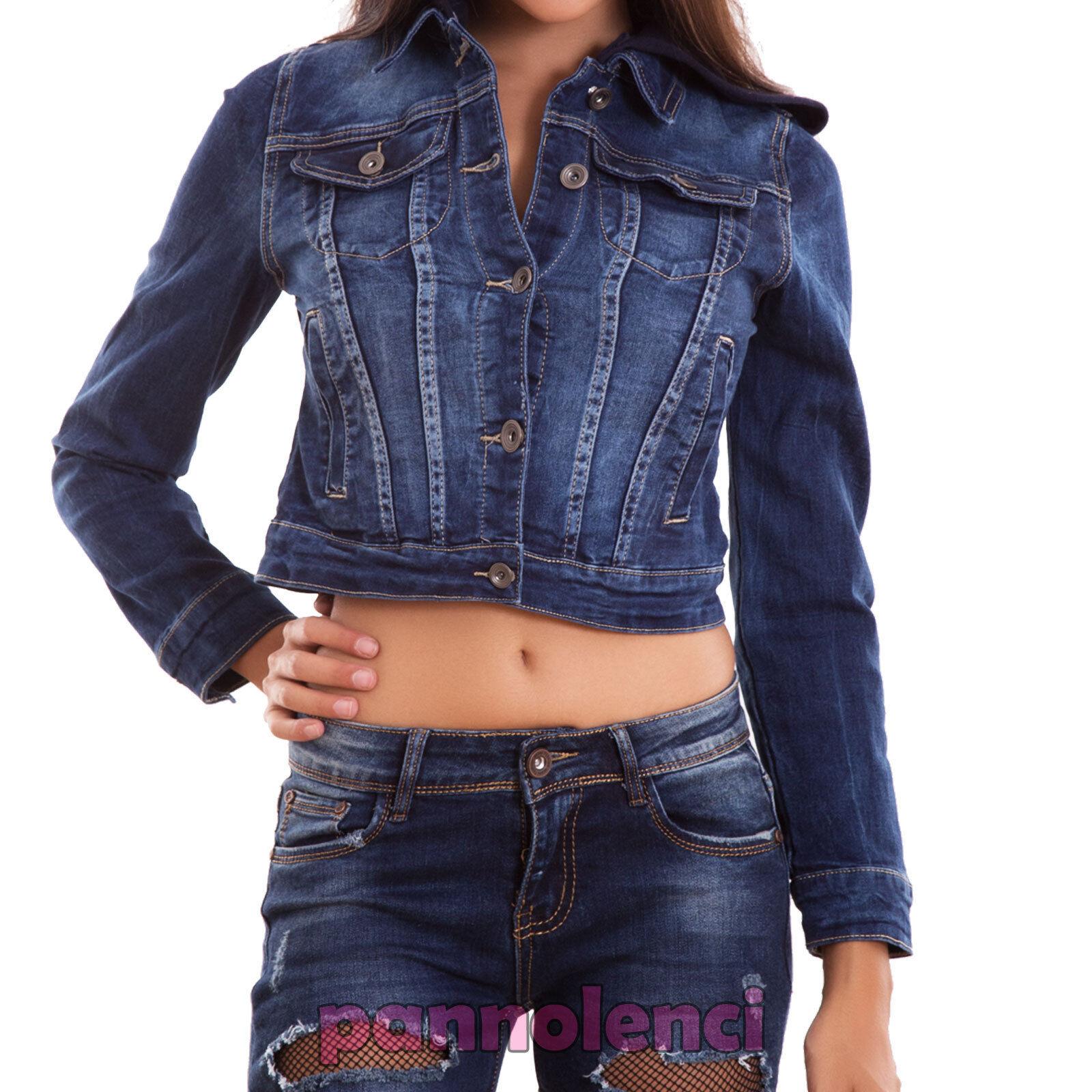 Chaqueta Chaqueta Chaqueta vaqueros de mujer capucha chaquetón chaleco collar nuevo JS8005 93074c