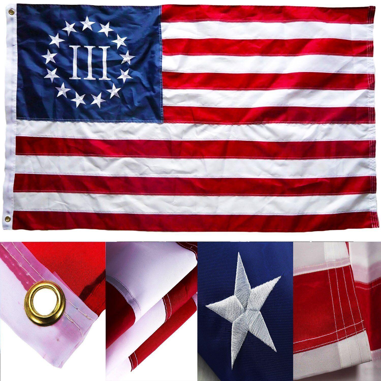 4x6 Bordado Sewn Betsy Ross Nyberg 3% Nylon Flag 4'x6' tres por ciento