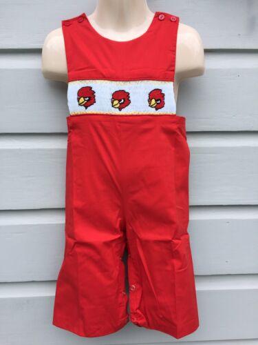 Pants Long All NWT NEW Smocked Cardinals Red Bird Long Jon Romper;  Boys 6 Mo
