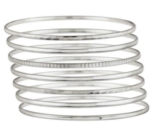 Set of 7 Comfort Fit SlipOn Bangle Bracelet REAL 925 Sterling Silver J278946 QVC