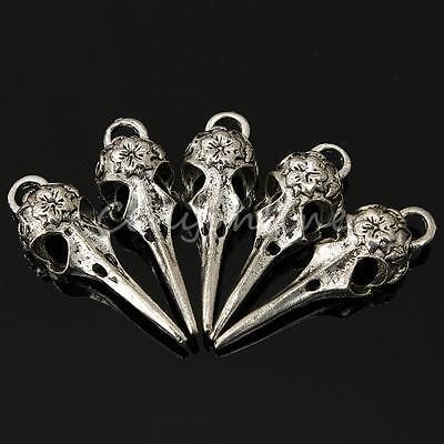 5 Stück Retro Schmuck Anhänger Metall Silber Vogel Schädel Für Kette Halskette