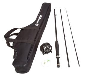 Travel Bag 12 Dry Fl Aluminum Reel Fly Fishing Starter Set- 8' Fiberglass Rod