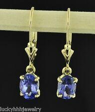 14k yellow gold lever back dangling oval Tanzanite earring AAA 1.90 carats USA