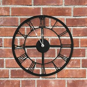 New Outdoor Garden Large Roman Numerals Wall Clock Black