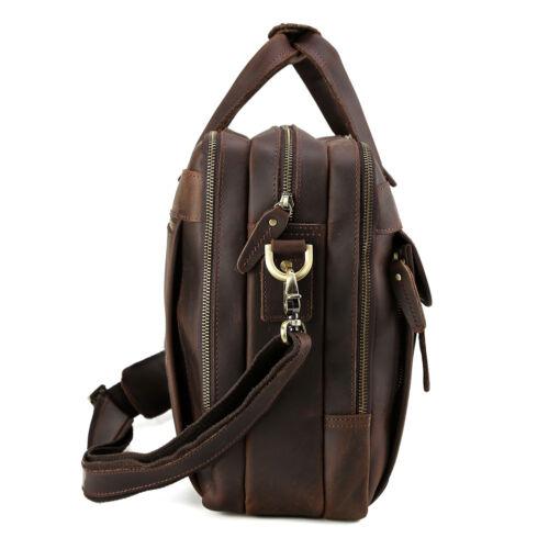 """Vintage Men/'s Leather 15.6/"""" Laptop Briefcases Luggage Shoulder Bag Tote Satchel"""