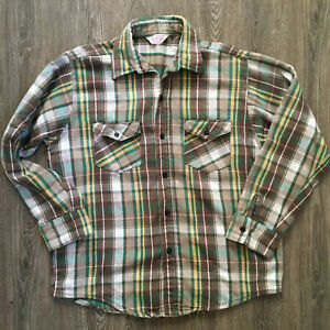 Men/'s 3XL 70s Clothing 70s Big Green Flannel Button Down Shirt 70s Flannel