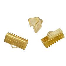100 Silver Plated Ribbon End Cap Crimp Beads 8mm x 8mm BULK Lot FD031