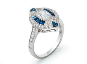 Platinum Sterling Silver Blue & White Sapphire Evil Eye Halo Baguette Ring Sz8