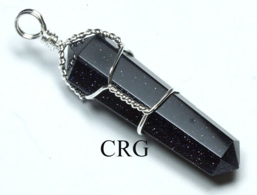 WW36DG Silver Plated Wire Wrapped Double Term Blue Goldstone Point Pendant