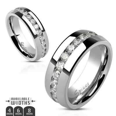 4mm Stainless Steel Eternity Channel Setting Clear CZ Wedding Ring Size 5 or 6