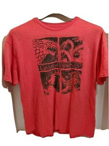 Game of Thrones Mens XL T Shirt Short Sleeve Pullover Fantasy Game Red
