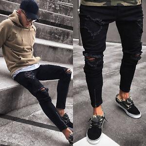 Uomo-Strappati-Skinny-Jeans-Destroyed-Logori-Zip-Aderente-Pantaloni