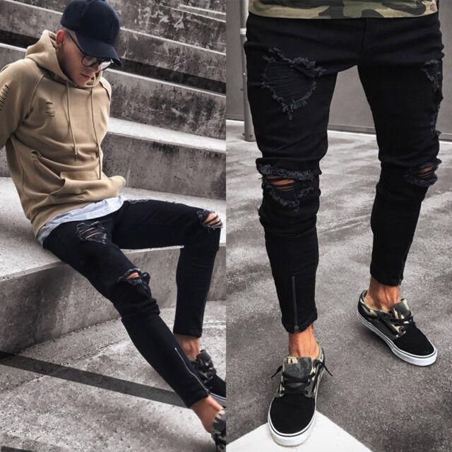 Uomo Strappati Skinny Jeans Destroyed Logori Zip Aderente Pantaloni