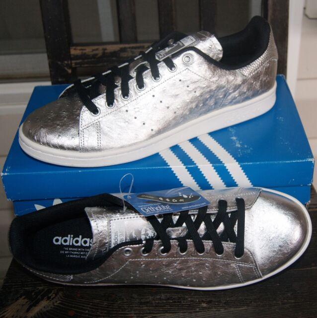 adidas Originals Stan Smith Mens Shoes Silver Leather Metallic Aq4706 US 10.5