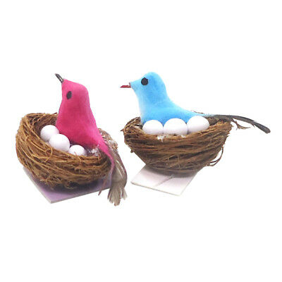 Miniature Bird Nest 1//12 Bird House Decoration for Fairy Garden Decor Blue
