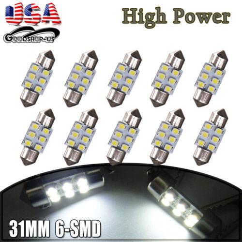 10x Super White 31mm 6SMD Festoon LED Interior License Plate Light Bulb DE3021