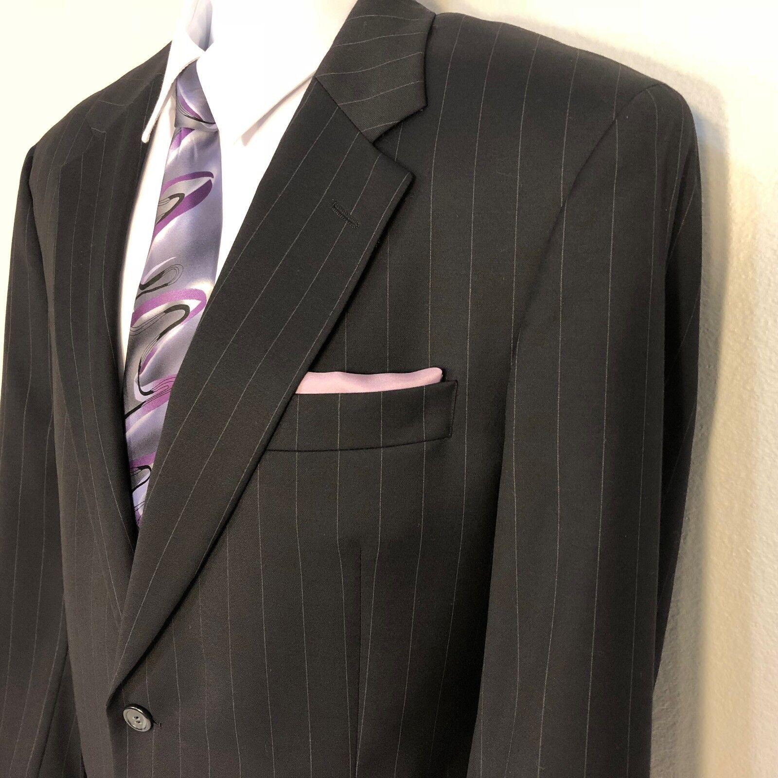 Claiborne navy Blau striped 2 piece suit men Größe 41L pants 35x33 Wool/Cashmere