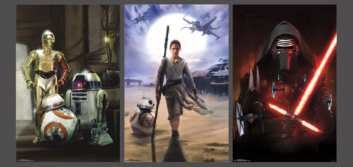 STAR WARS EPISODE VII THE FORCE AWAKENS 3 POSTERS Combo Set Kylo Droids Rey