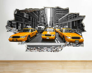 Z new york city nyc yellow cab america wall decal poster d art