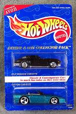 HOT WHEELS ~ AVON ~ 1963 CORVETTE BLACK ~ 1989 CORVETTE AQUA