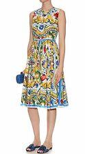 Dolce&Gabbana 'Majolica' Cotton Poplin Dress Original:$1999 + tax 6US / 40IT