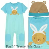 Gymboree Brand Baby Boys Size 6-12 Months Beaver Bunny Hat One-piece Set