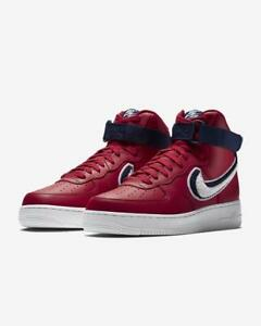 "WomenMen Nike Air Force 1 High '07 LV8 ""Chenille Swoosh"" Gym RedWhite Blue Void 806403 603 Discount"