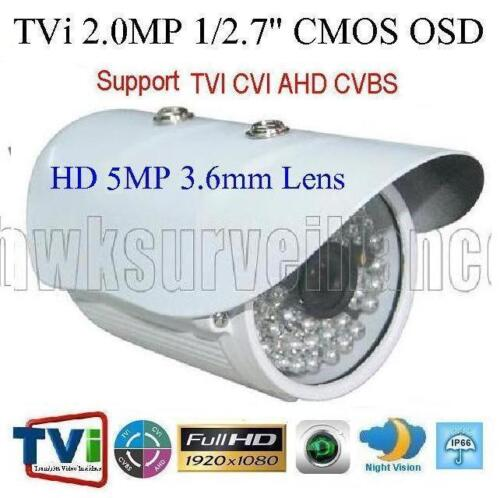 "TVI 1080P 2.0mp 1//2.7/"" TVI//AHD//CVI and CVBS CCD 48IRxF0.5mm 5mp 3.6mm Lens OSD"
